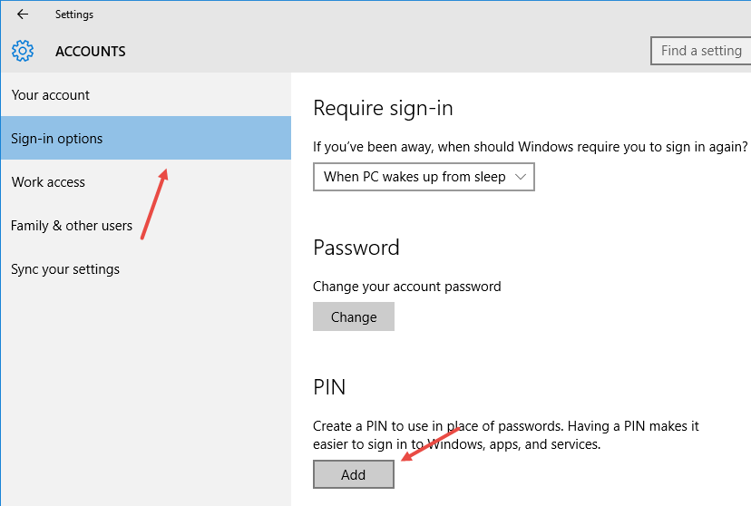how to add digital password to windows 10