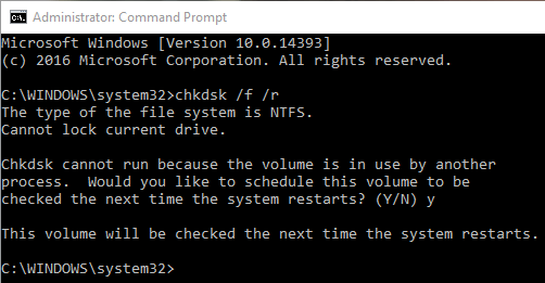fix SYSTEM_SERVICE_EXCEPTION error Windows 10 schedule chkdsk