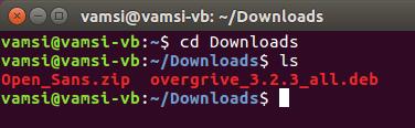 ubuntu overgrive navigate to downloads folder