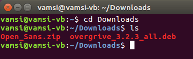 ubuntu overgrive navigate to downloads folder
