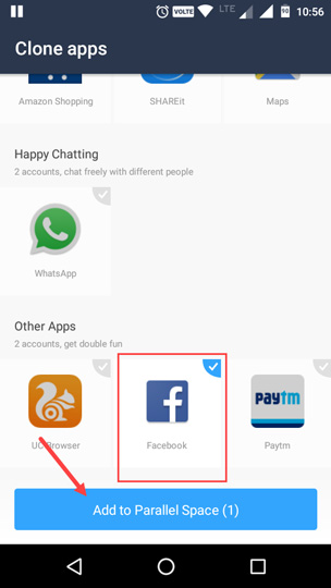 multiple facebook accounts on android select facebook app