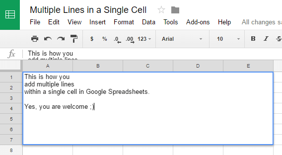 Add Multiple Lines in a Single Cell - Google Spreadsheets
