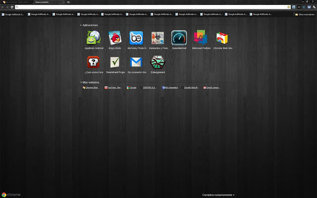 Dark themes for Google Chrome - Black Wood