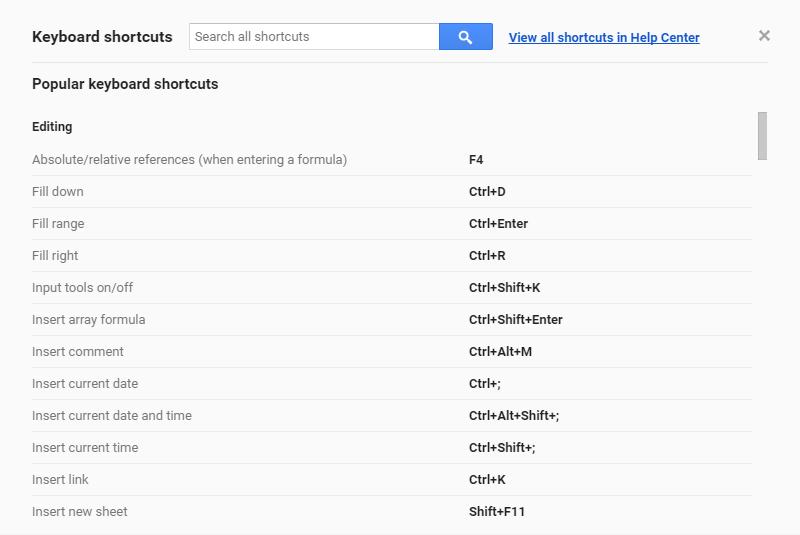 Google Spreadsheets Tips - Google Sheets Keyboard Shortcuts