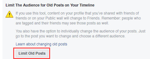 Click limit old posts button
