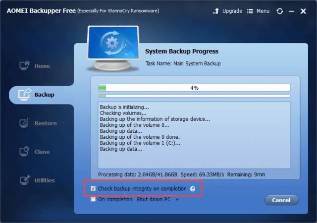 AOMEI Backupper Review - Backup in progress