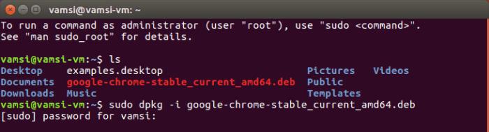 Install Google Chrome in Ubuntu - enter user password