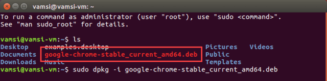 Install Google Chrome in Ubuntu - installation command