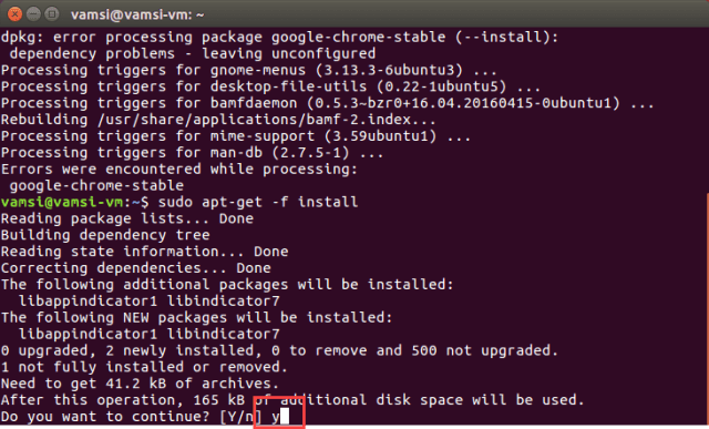 Google Chrome in Ubuntu - accept changes