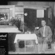 """Shown is Gus Comstock, January 11, 1927 at the Kaddatz Hotel in Fergus Falls, MN, where he drank 85 cups of coffee in about seven hours to regain his title of """"World's Coffee Drinking Champion""""."""