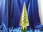 Murano Art Glass Christmas Tree Green and Gold Swirl Italy 11 and 1 4 inches tal