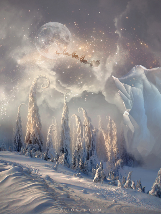 Christmas Night. Magic scene with flying Santa