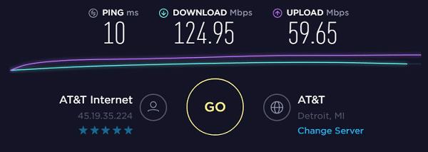 Speed test to IP5 - 45.19.35.224