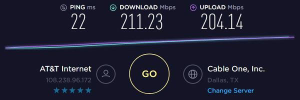 Speed test to IP6 - 108.238.96.172