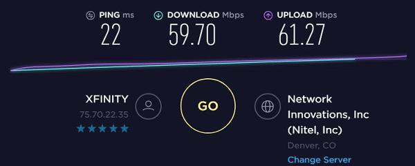 Speed test to IP9 - 75.70.22.35