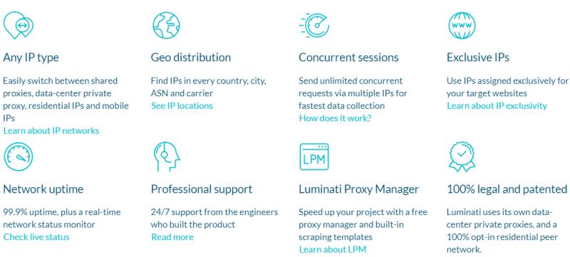 advantages of Luminati proxy service