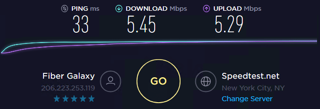 Speed test with ip 1