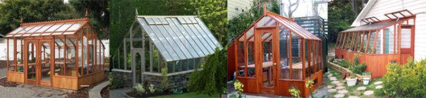 Wooden Greenhouses-left to right, Nantucket, Tudor, Trillium, Tropic lean-to