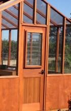 Jalousie window in top of door