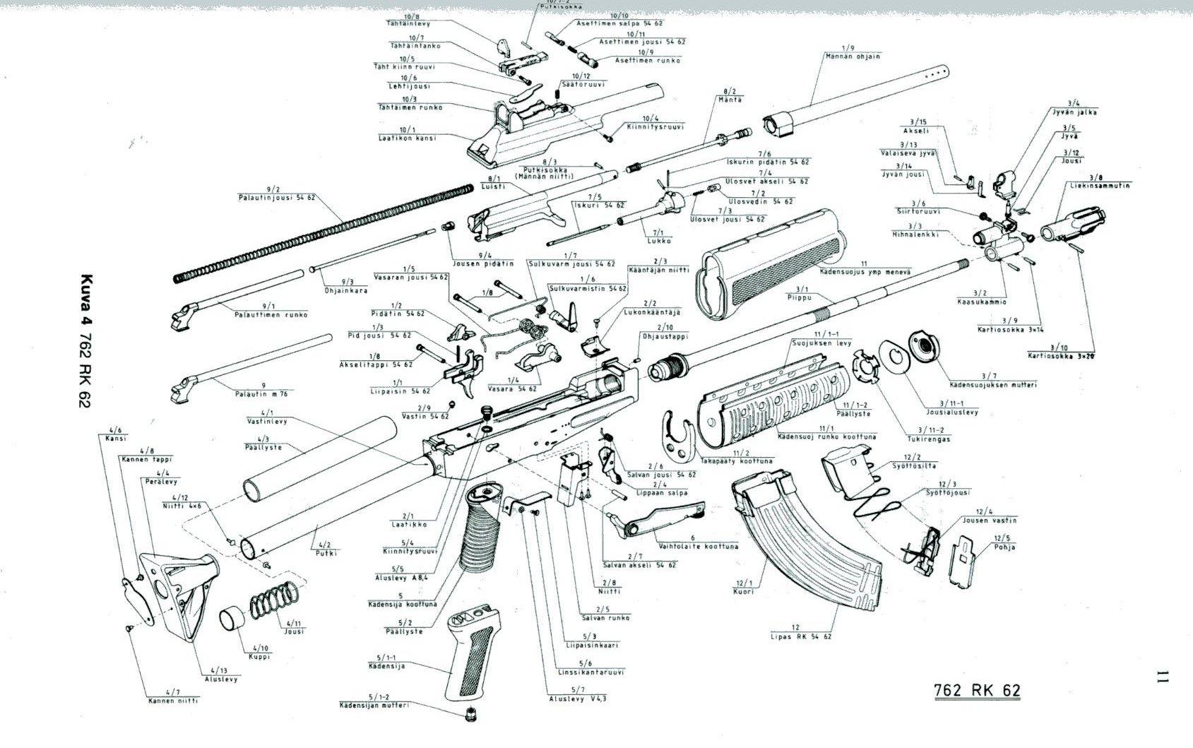 Valmet M62 76 Partsdiagram Wallchart