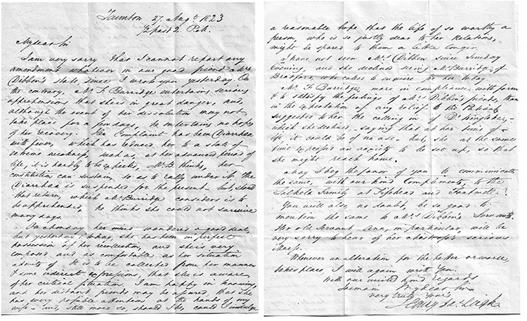 Letter from Henry Leigh of Taunton to Thomas Dashwood in connection with the death of Anne Dibben, 27th August 1823