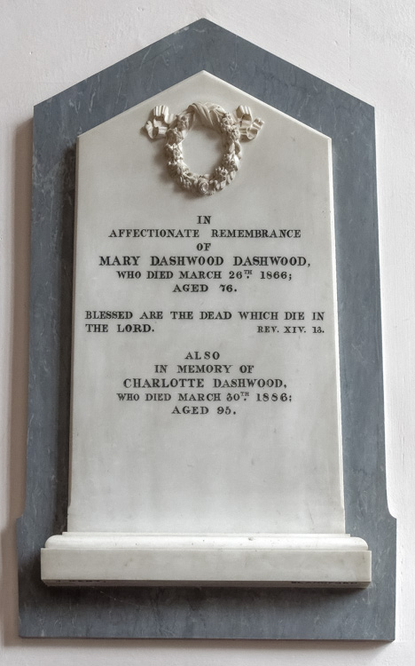 Sturminster Newton, St Mary's Church, Mary and Charlotte Dashwood