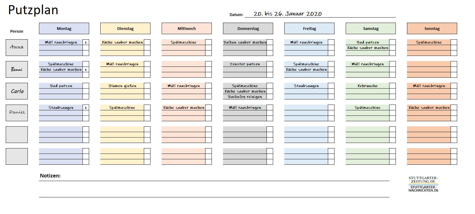Excel putzplan für paare Putzplan treppenhaus