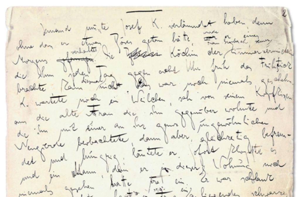 Ein Ausschnitt Der Ersten Seite Aus Franz Kafkas Process M Kript Entstanden In
