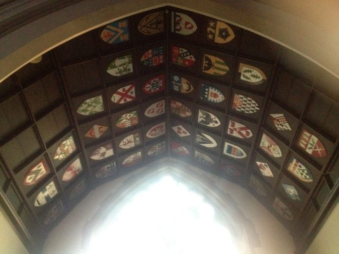 The 47 shields on the ceiling of the Chancel in St Vincent's