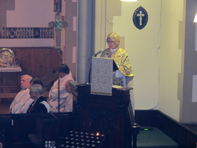 The Very Reverend Susan Macdonald, Dean of Edinburgh, preaches at the Institution of Canon Allan Maclean as Rector of St Vincent's on St Vincent's Day, 22 January 2015