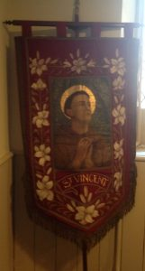 The St Vincent banner lovingly restored for St Vincent's Day 2015 by Christopher Hartley