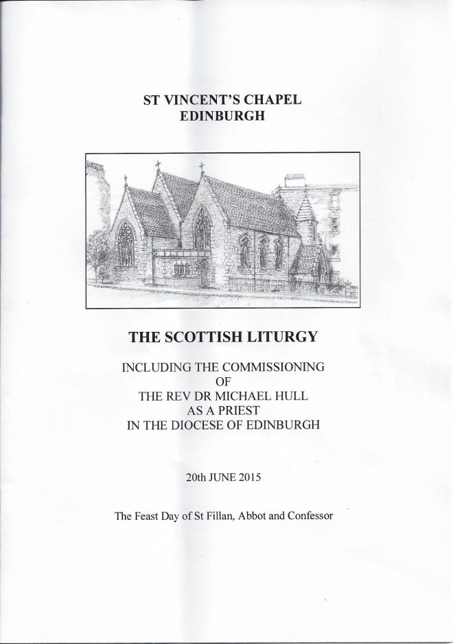 Order of Service for the Commissioning of The Reverend Dr Michael Hull on 20th June 2015 at St Vincent's.