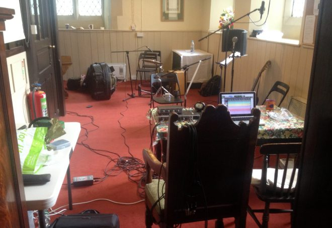 The Refectory set up as a recording studio for two days of Irish Folk Music in June 2015.