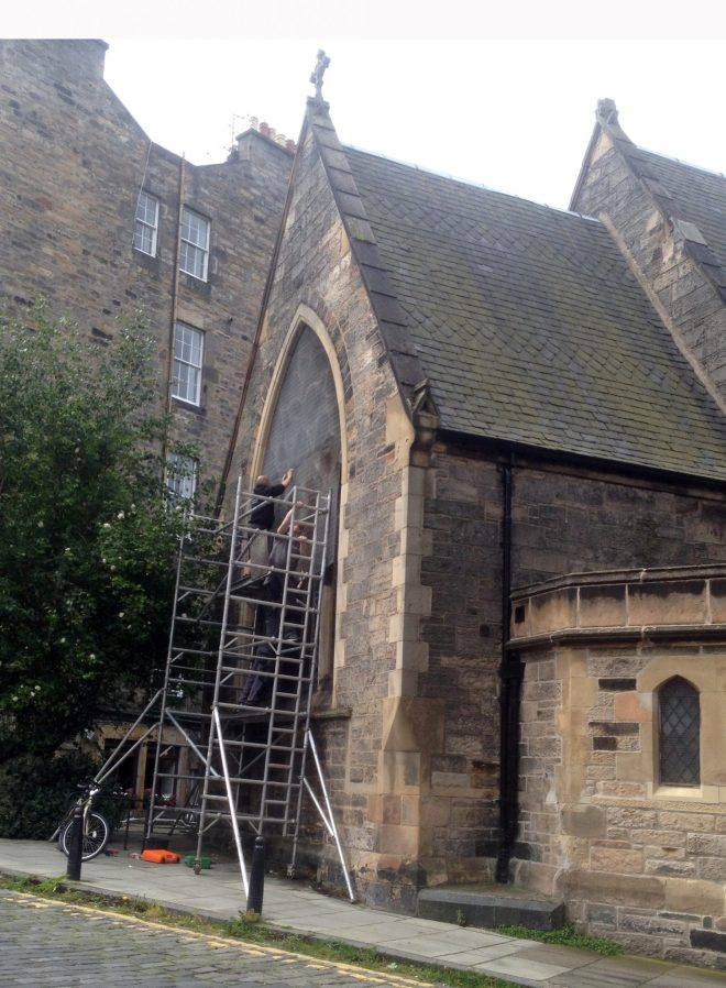 Window guards being restored to the East Window in August 2015 - following extensive stone work repairs.