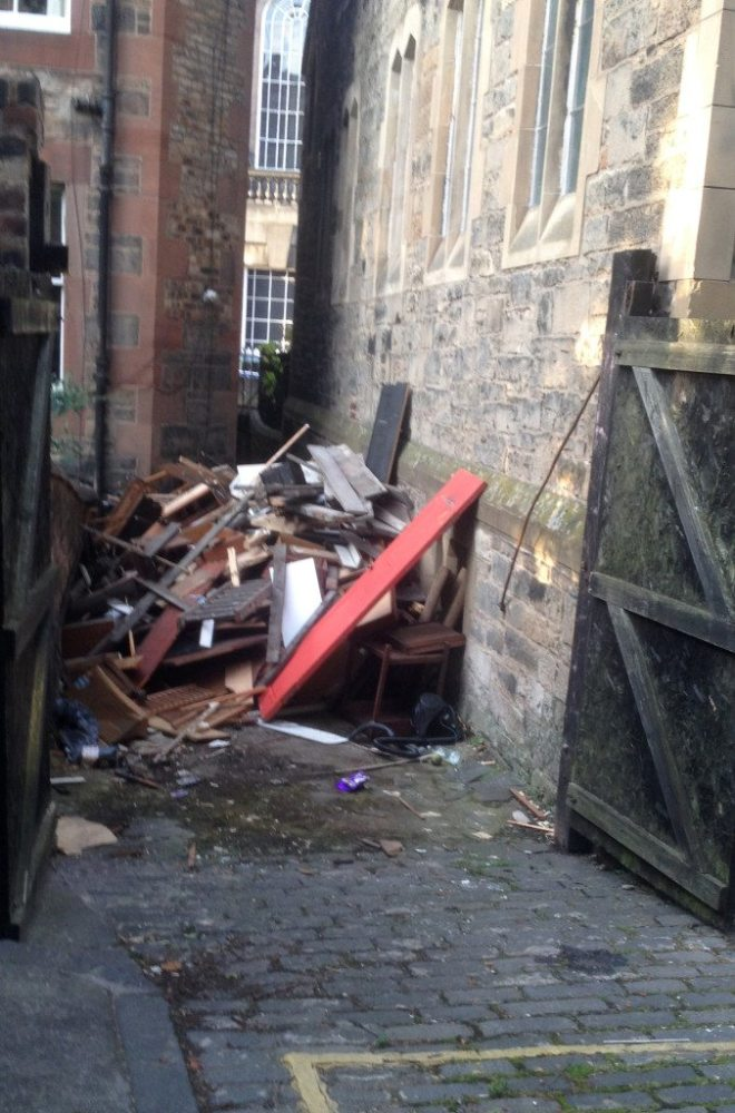 Some of the rubbish to be removed from St Vincent's Undercroft in July 2015.