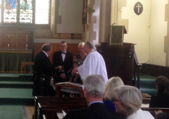The wedding of Bruce and Carolyn at St Vincent's on 12th August 2015 - officiant the Reverend Dr Joe Morrow, Lord Lyon King of Arms.