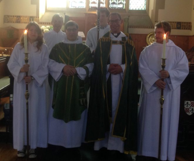 The Rector, Canon Allan Maclean, with guest preacher, the Reverend Fr David Charles, with Sacristan and servers at the Sunday Eucharist on 23rd August 2015.