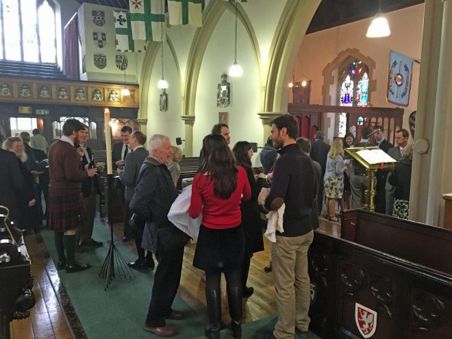 At the reception following the Easter Day service at St Vincent's, 2016