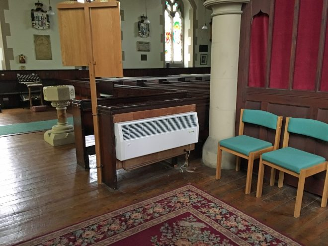 One of the four new Myson central heating convector fan heaters installed on 24th March 2016