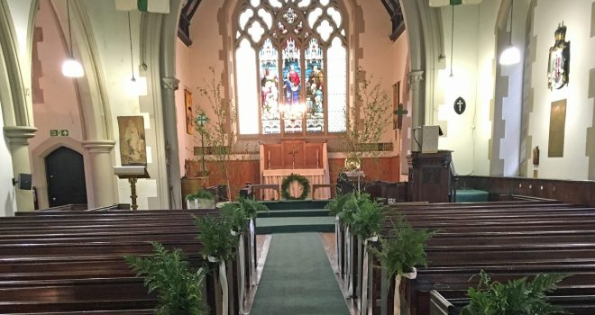 The church is beautifully decorated in green for the wedding of Andrew and Lucy at St Vincent's on Saturday 28th May 2016.