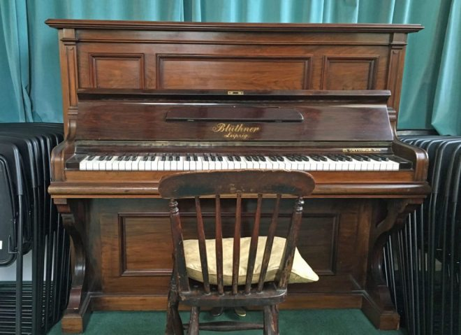 Our mellow toned Bluthner upright piano in the Refectory of St Vincent's