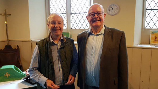 Sacristan Christopher Hartley (left) with Property Convenor Barnaby Miln in June 2016