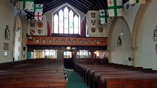Inside St Vincent's and looking to the back of the church and Refectory beyond with the significant west window above.