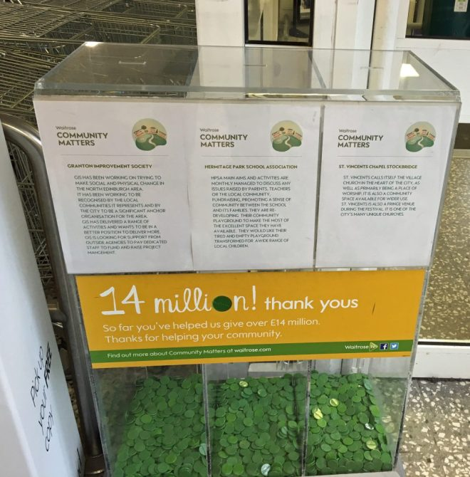 During July 2016 customers of Waitrose, Comely Bank, have the opportunity to support St Vincent's with the token they are given at the till. The member of our congregation who arranged this is to be warmly thanked.