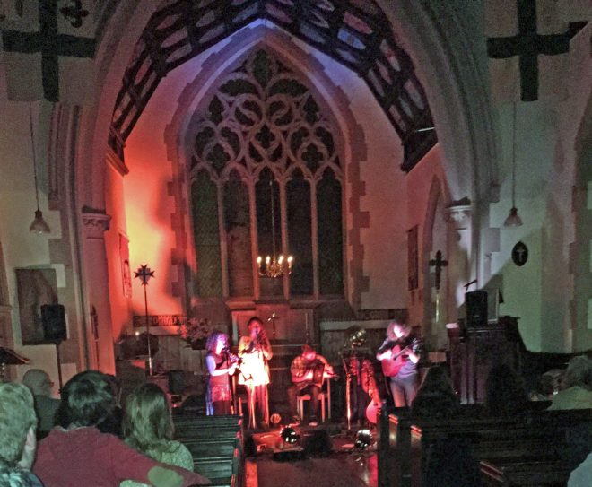 Darragh Quinn brought friends Berlinn Jiang from the Isle of Man for a folk concert at St Vincent's on Holloween, 31st October 2106.
