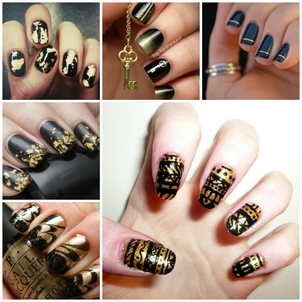 Stylelab Beauty Notd Nail Art Inspiration Black And Gold 2