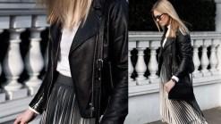 Second Female White Blouse, Samsoe Pleated Skirt, Sandro Biker, Common Projects & APC Demi-Lune
