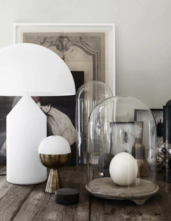 Glass globes and white glass lamp | Home of Artilleriet's Owners