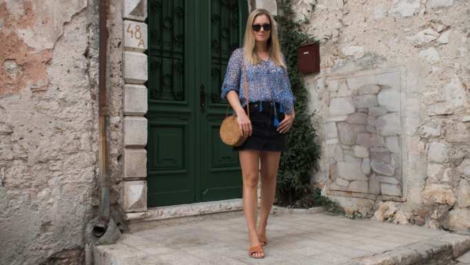 Cloe Cassandro Top, Topshop Black Denim Skirt, Ancient Greek Sandals, Wood/Grey Round Woven Bag in Rovinj, Croatia