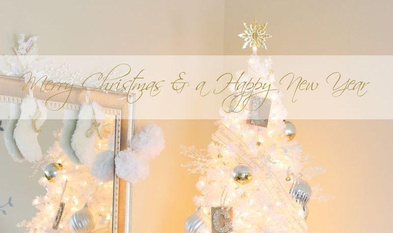 Merry Christmas, greeting, white gold silver, white Christmas tree